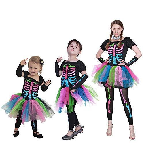 Minizone Halloween Moeder en Dochter Jurk + Panty + Arm Mouwen 3 STKS Funky Punky Bones Kostuum