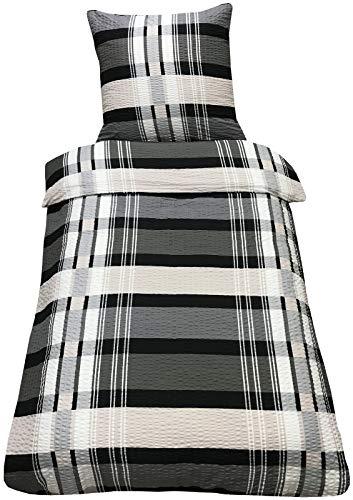 Leonado Vicenti Mikrofaser Seersucker Bettwäsche 135x200 cm 2-Teilig Bettwaren Kissenbezug Bettbezug (Marvin Schwarz)