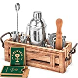 Mixology Bartender Kit with Wooden Stand - Great Housewarming Gift - 11 Piece Bar Tools Set with Cocktail Kit Cards - Premium Bartending Kit for a Fun Bar Set - Stainless Steel Cocktail Shaker Set.