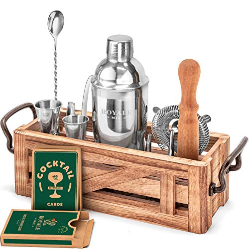 Mixology Bartender Kit with Wooden Stand - Great Housewarming Gift - 12 Piece Bar Tools Set with Cocktail Kit Cards - Premium Bartending Kit for a Fun Bar Set - Stainless Steel Cocktail Shaker Set.