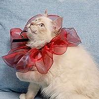 2 PCSペットスカーフハロウィーンクリスマスドレス夢の三角形スカーフ、サイズ:猫S WXW (Color : Red)