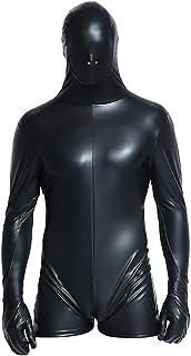 DDXY-Mono de Cuero para Hombre Wet Look Pantalones Cortos Body Leotard Zipper Cosplay Prisoner Clubwear