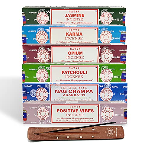 Satya Nag Champa Incense Sticks Set B - 6 Assorted Fragrances With Nakshatra Incense Stick Holder| 15g Each Assorted Joss Long Burning House Fragrance | For Meditation Yoga Relaxation By Nakshatra
