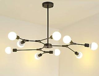 Dellemade Sputnik - Lámpara de araña, 9 luces, diseño de globo terráqueo, para comedor, salón, cocina, oficina, cafetería, restaurante (negro)