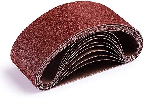 TACKLIFE Nastro Abrasivo, 10 pezzi Nastri Abrasivi 75x457mm per Levigatrice a Nastro, Carte Abrasive Grana da (2x40/ 60/80/ 100/120) per Levigare Legno, Metallo ASB01A