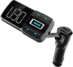 V5.0 Bluetooth Car FM Transmitter Audio Adapter Receiver Wireless Hands Free Car Kit, QC3.0 and Smart 2.4A Dual USB Ports Charger, Bass Booster, AUX Output, TF Card Music Player