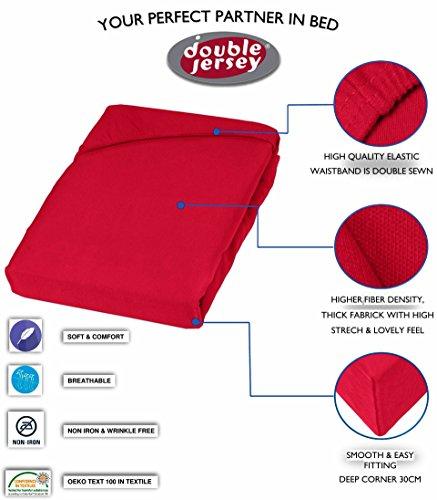 Double Jersey – Spannbettlaken 100% Baumwolle Jersey-Stretch bettlaken, Ultra Weich und Bügelfrei mit bis zu 30cm Stehghöhe, 160x200x30 Rot - 3