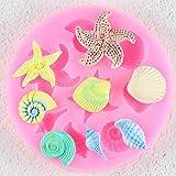 QMGLBG Herramientas de decoración de Tartas DIY Criaturas Marinas Concha Concha de Estrella de mar Fondant Cake Candy Moldes de SiliconaDIY Molde de Chocolate