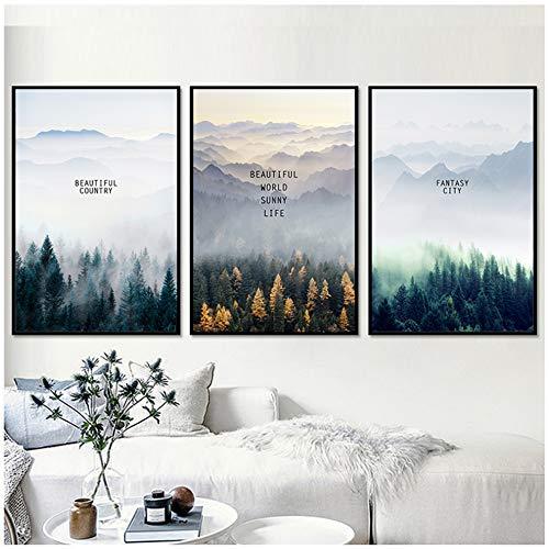 ZHANGSHAIFFBH Nordic Forest Decoratieve Landschap Muurkunst Doek Posters en Prints Canvas Schilderen Woonkamer Huisdecoratie Foto -50x70cm Geen Frame
