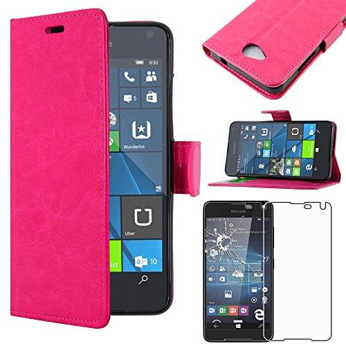ebestStar - kompatibel mit Microsoft Lumia 650 Hülle Kunstleder Wallet Hülle Handyhülle [PU Leder], Kartenfächern, Standfunktion, Pink + Panzerglas Schutzfolie [Lumia 650: 142 x 70.9 x 6.9mm, 5.0'']