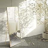 Beauty4U Espejo de longitud completa de 140 x 40 cm, de pie, colgante o inclinado, gran espejo de piso con marco de aleación de aluminio dorado para sala de estar o dormitorio