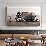 ganlanshu Cartel de Lienzo nórdico Moderno de Buda y Grabado Zen House Elephant Art Decorada Religiosa para Sala de Estar,Pintura sin Marco,30x60cm