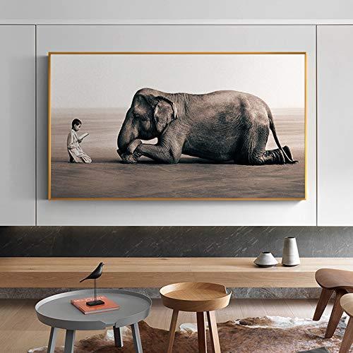Moderne Buddha Nordic Canvas Poster und Druckgrafik Zen House Dekorierte Elefanten religiöse Wandkunst für Wohnzimmer,Rahmenlose Malerei,30x60cm