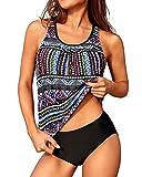 Yonique Womens Purple Blouson Tankini Swimsuits Ladies Tribal Bathing Suits 2 Piece Athletic Swimwear XL