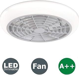 Ventilador de techo con luces LED regulable sin escalonamiento con control remoto de 3 velocidades, techo moderna Luces Ventilador comedor Habitación Sala Lámparas Ventilador (gris) (Color : Whitea)