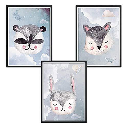 3er-Set DINA4 Poster fürs Kinderzimmer und den Bilderrahmen, Babyzimmer Bilder, Mädchen Junge Deko, Dekoration, Wanddeko, Wandbild