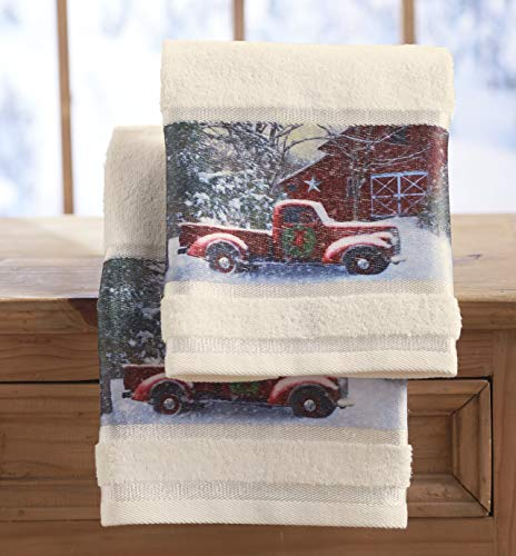 The Lakeside Collection Christmas Hand Towels with Decorative Red Truck Print - Set of 2