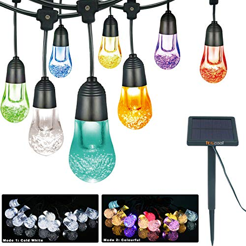 Solar String Lights, Itscool Solar String Bulb Lights Commercial Grade IP65 Waterproof Durable Housing17.4 feet 12 LED 7 Colors for Garden