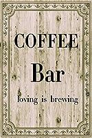 イミテーションウッドオリジナルレトロデザインコーヒーバーティンメタルサインウォールアート|愛情は醸造|厚いブリキプリントポスター壁の装飾キッチン/カフェ/コーヒーコーナー