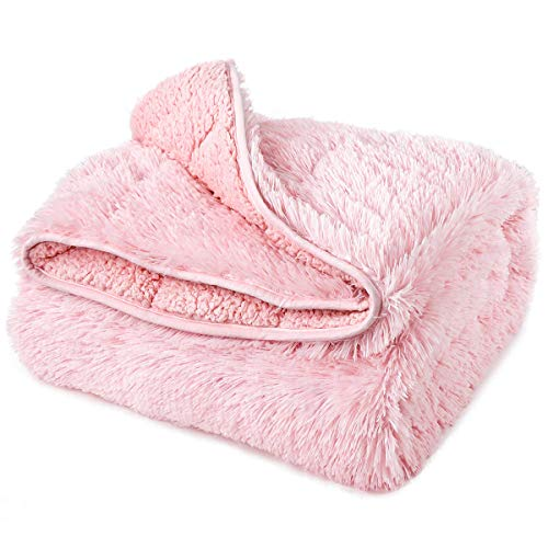 Pacapet Fuzzy Sherpa Weighted Blanket 15lbs for Adult, Fluffy Faux Fur Weighted Blanket, 48' X 72' for Twin/Full Size Bed, Soft Plush Pink Fleece Blankets, Dual Sided for Sofa/Couch/Bed