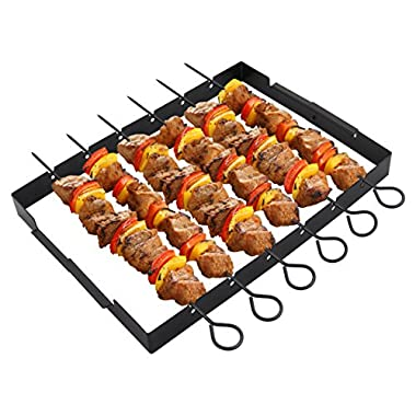 """POLIGO Heavy Duty Barbecue Skewer Shish Kabob Set, 14"""" Stainless Steel Shish Kabob Skewers and Foldable Grill Rack - Great for Charcoal, Electric or Gas Grill (Set of 6 Skewers + Grill Rack)"""