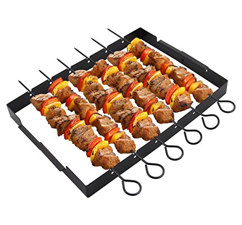 "POLIGO Heavy Duty Barbecue Skewer Shish Kabob Set, 14"" Stainless Steel Shish Kabob Skewers and Foldable Grill Rack - Great for Charcoal, Electric or Gas Grill (Set of 6 Skewers + Grill Rack)"