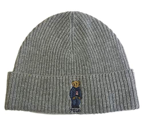 Polo Ralph Lauren Unisex Bear Design Wool Winter Skulllie Cap Beanie Hat One Size (Heather Gray/Blue Jacket)