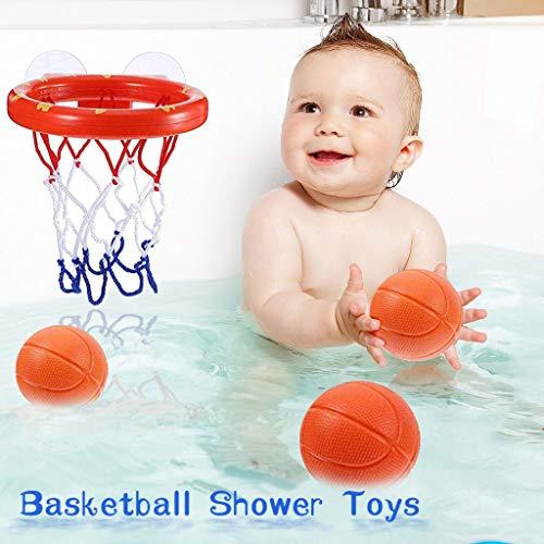 Bumplebee Mini Basketballkorb Kinder Indoor Wandmontage Basketballkorb mit 3 Basketball Ohnebohren Saugnapf Basketballbrett mit Korb Badespielzeug für Kinder Badezimmer (Orange)