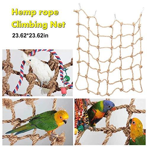 Hihey Klimnet, hangmat, katoen, touw, klimwand, klimnet voor vogels, papegaaien, nymphensittijen, golfzittijen, vinken, Ara