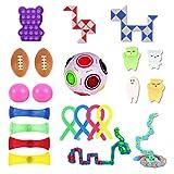 Ulikey Kit de Juguetes Sensoriales, 23pcs Juguetes Antiestrés, Juguetes para Aliviar el Estrés, Sensorial Fidget Juguete, Juguetes Sensoriales para Niños Adultos Autismo (Color A)
