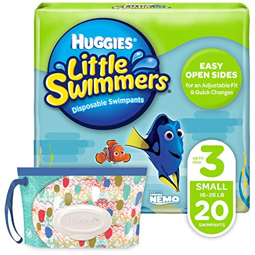 Huggies Little Swimmers Disposable Swim Diaper, Swimpants, Size 3 Small (16-26 Pound), 20 Count., with Huggies Wipes Clutch 'N' Clean Bonus Pack (Packaging May Vary)
