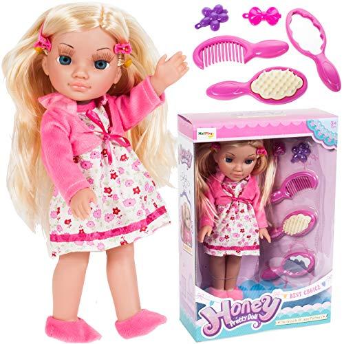 MalPlay Funktionspuppe Honey 30cm | Stehende Babypuppen mit Langen Haaren zum Stylen | große Stehpuppe | 5-teiliges Set | Puppe mit Zubehörset ab 3 Jahren