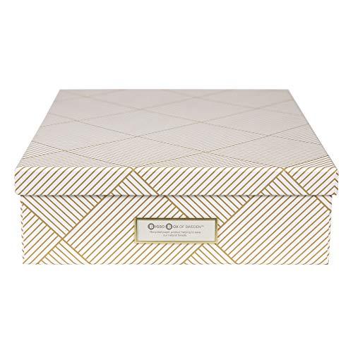 Bigso Box of Sweden Dokumentenbox für A4 Papier, Broschüren usw. – Schreibtischablage mit Deckel und Griff – Aufbewahrungsbox aus Faserplatte und Papier – Gold und weiß