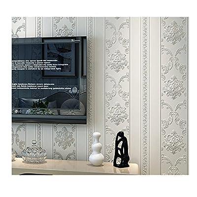 Wallpaper European Style, Non-woven, 3D, Stripe, White, Flower, Damask, Textured for Bedroom