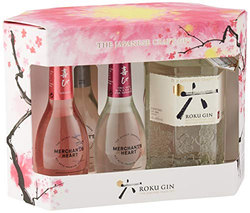 Roku Japanese Craft Gin Gift Pack with Merchant's Heart Spirit Enhancers, 70 cl - Amazon Exclusive