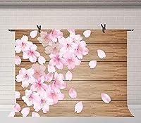 HDベビーシャワーの背景10x7FTピンクの花ウッドボード写真背景結婚式のスタジオルームの壁画のための小道具LYFU698