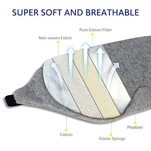 Mavogelアイマスク遮光ノーズワイヤー付モダールとコットン素材究極の肌触り圧迫感なし自由調整可能旅行収納袋付