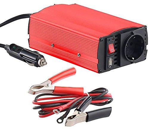 reVolt Wechselrichter: Kfz-Spannungswandler 300 W, 230 V AC, 5 V USB, Peakpower 600 W (Spannungswandler 12V in 230V)
