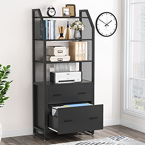 Tribesigns 2 Drawer File Cabinet with Bookshelf, Modern Vertical Filing Cabinet for Letter/Legal/A4 Size File, Large Printer Stand with Open Storage Shelves for Home Office, Black