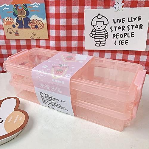 Kangzhiyuan Cartoon-Aufbewahrungsbox mit 2 Ebenen, transparent, für den Schreibtisch, magische Aufbewahrungsbox, Stiftehalter, Stifteetui, Schule, Büro, Schreibwaren (Farbe: Fense)