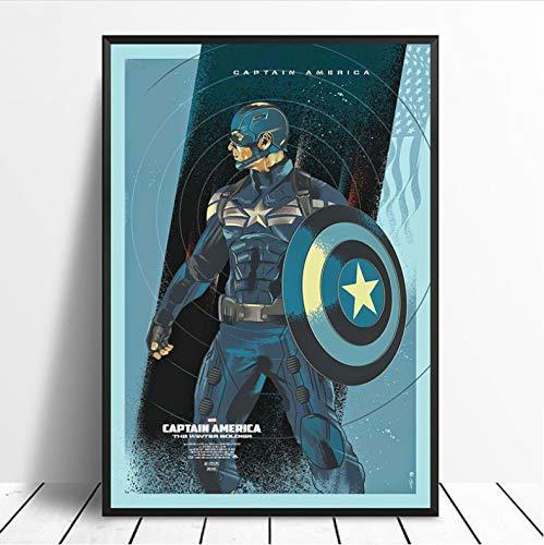 Hao Sai's shop Captain America Avengers Superhero Poster Wall Art Movie Poster Decorazioni per La Casa Pittura Decorazioni per La Casa Stampa su Tela Vivente No Frame 40X50Cm Senza Cornice