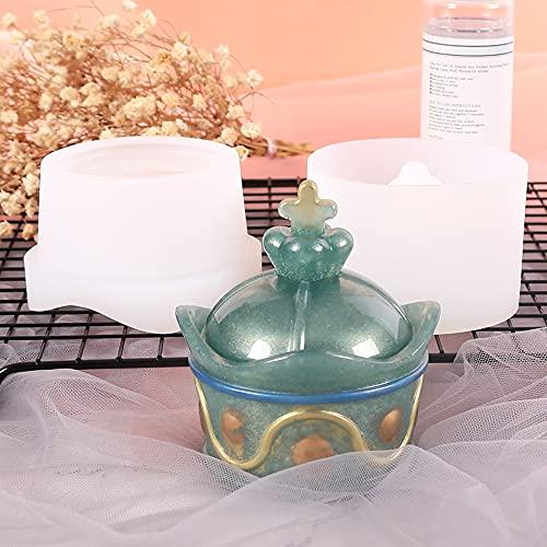 Beifeng Caja de almacenamiento moldes de silicona 3D caja de joyería molde con tapa de almacenamiento Tarro de almacenamiento para bricolaje arte fundición herramienta de decoración