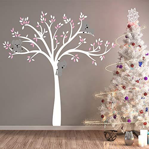 Bdecoll Adhesivos decorativos para la pared,Pegatina de pared extraible e impermeable - Koala lindo y árbol - Decoración habitación bebé/niños (blanco)