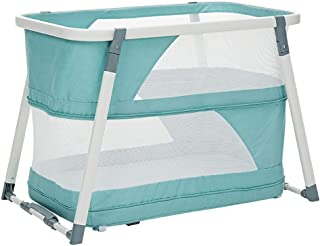 Portable Folding Baby Travel Cot Crib Bed Playpen for Babies and Toddlers Double Layer Game Bed Newborn Folding Cradle Bed Suitable for 0-24 Months