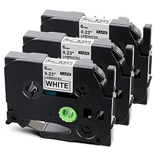 Suminey kompatibel Schriftband als Ersatz für Brother P touch TZe 6mm TZe-211 TZ 211 AZe211schwarz auf weiß Laminiert Etikettenband for Ptouch h100r h105 900 1000 1010 1280 D400 2430PC P750W, 3x