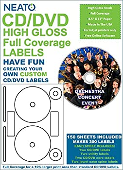 Neato - Full Coverage High Gloss Photo Quality CD DVD Labels - 300 Labels  150 Sheets  - Free Online Design Software Included