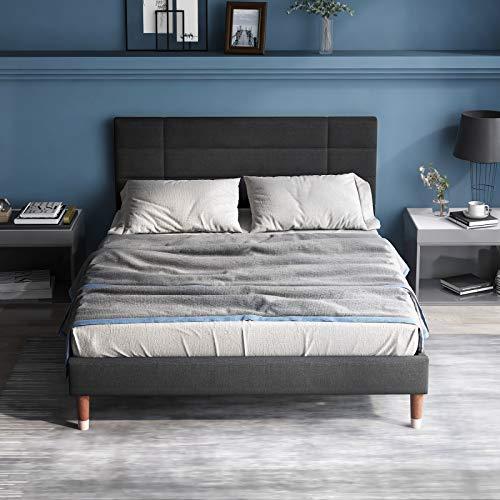 VSTAR66 Polsterbett, Doppelbett mit Bettkasten&Lattenrost, 140x200cm gepolsteres Bettgestell mit Kopfteil, in Dunkelgrau Leinen, für Erwachsene&Jugendliche, (Matratze Nicht enthalten)