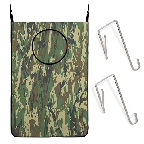 N\ A Abstract Military Camouflage Vintage Camo Hanging Laundry Hamper Bag Dirty Clothes Hamper, Door Compact Laundry Basket Zip Clothes Hampers for Kids Baby Dorm Laundry Room Bedroom Large