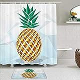 AYISTELU Duschvorhang Sets mit rutschfesten Teppichen,Geometrisches Quadrat der tropischen Frucht der Ananas, Badematte + Duschvorhang mit 12 Haken