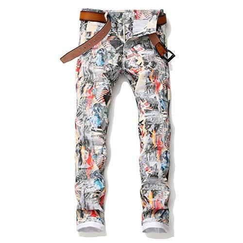 Loeay Hombres Pintados Pintura al óleo Carácter Imprimir Skinny Jeans Streetwear Estilista Bailarina Hip Hop Cantante Denim Joggers Pantalones Color de la Foto 30